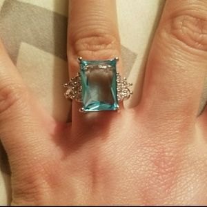 Sz 7 925 SS Stamped SS Blue Topaz Ring